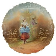 Hand-painted Limoges Plate Artist Signed by J. Mongar
