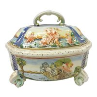 Covered & Footed Italian Capodimonte Vegetable Dish