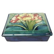 c. 1935 English Moorcroft Art Pottery African Lily Covered Box