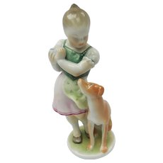 Hungarian Herend Porcelain Girl Scolding Dog Figurine