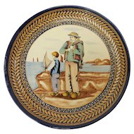 French Quimper Pottery Seaside Landscape Breton Motif Decorative Plate