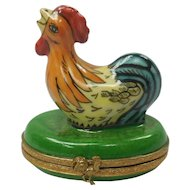 Miniature French Limoges Hand Painted Porcelain Colorful Rooster Box