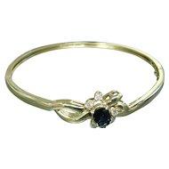 14k Yellow Gold, Blue Sapphire, and Diamond Bangle Bracelet