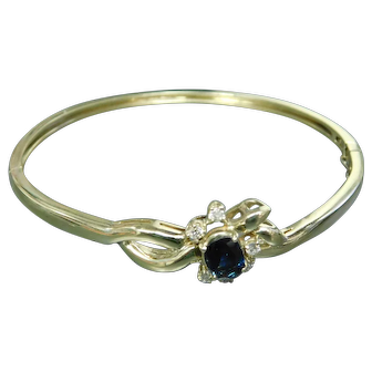 14k Yellow Gold, Blue Sapphire, and Diamond Bangle Bracelet