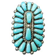 Native American Zuni E. Wyaco Sterling Silver and Turquoise Ring