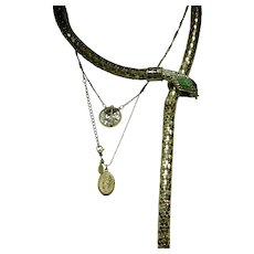 Gold Tone Snake Belt Necklace with Green Rhinestone Embellishments