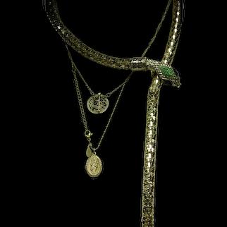 Gold Tone Snake Belt Necklace with Green Rhinestone Embellishments