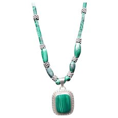 Sterling Silver and Malachite Necklace