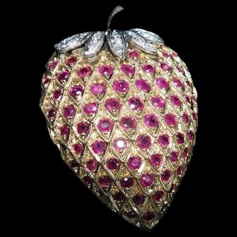 14k Gold, Ruby, and Diamond Strawberry Pin/Pendant