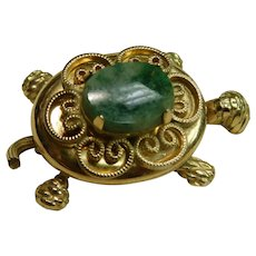 Vintage Gold Filled Turtle Locket Pin with Green Stone