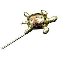 18k Yellow Gold and Enamel Turtle Stick Pin