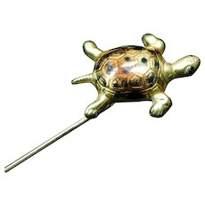 18k Yellow Gold and Enamel Turtle Stick Pin