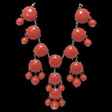 Vintage Costume Coral Color Statement Necklace