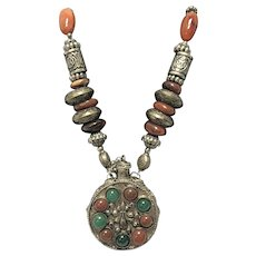 Vintage Perfume Necklace Featuring Red and Green Stones