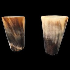 Victorian Era Horn Tumblers Cups as a Pair