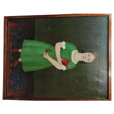 "Erwin Neusch Vintage Painting, ""Girl in Green Dress"""