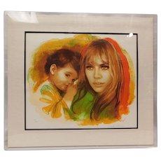 "Sandu Liberman Lithograph: ""Young Mother and Child"""