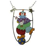 Sara Coast Vintage Designer Clown Necklace