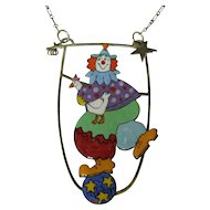 Sara Coast Vintage Designer Clown Necklace