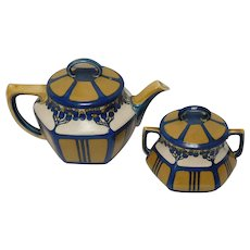 Mettlach Tea Set of Small Teapot and Covered Sugar