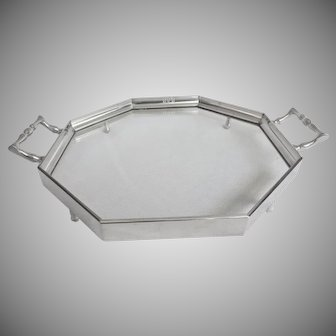 Pewter and Glass Octagon Tray 12""