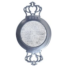 Pewter Tea Strainer, Pierced Handles, John Somers Collection, Brazil