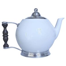 """Pewter and Ceramic TeaPot 7"""" tall"""