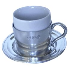 """Pewter and Ceramic Demi-tasse Cup and Saucer 2.5"""" tall"""