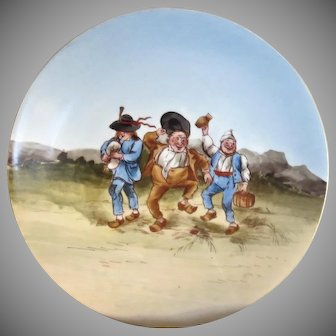 "Tressemann & Vogt Hand Painted ""Country Scene"" Plate 8"" diameter"