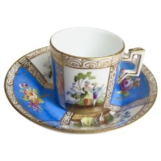 """Dresden Demi-tasse Cup and Saucer 2' tall - """"Courting Couples"""""""