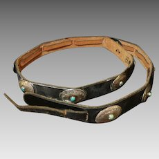 Vintage Native American Sterling Silver Natural Turquoise Concho Belt c.1940's