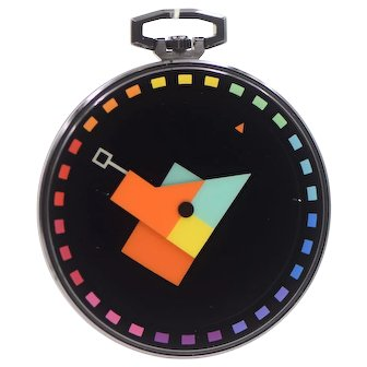 "Vintage 1989 Yaacov Agam ""Multidimension"" Swiss Quartz Pocket Watch For Movado"