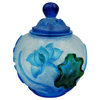 Vintage Chinese Peking Glass Ginger Jar With Lid Blue And Green Lotus Flower Phoenix Birds