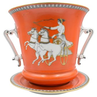 Gorgeous Pair of Hand Painted Neoclassical Porcelain Cachepots Apollo And Cynisca