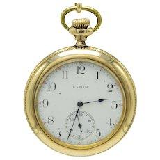 Antique Gold Filled Open Face Engraved Elgin Pocket Watch 15j Grade 235 Model 3. Size 12s