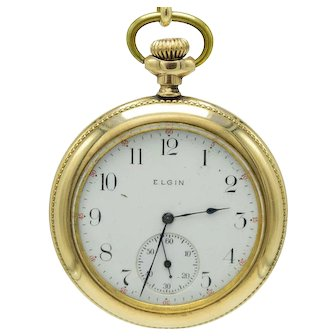 Antique Gold Filled Open Face Engraved Elgin Pocket Watch 15j Grade 235 Model 3. Size 12s