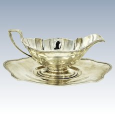 c. 1925 Sterling Silver Art Deco Gorham Plymouth Pattern Gravy Boat With Underplate A2780 A2803