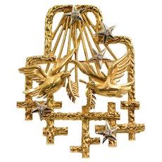 Vintage 18k Yellow Gold Peter Lindman Diamond Emerald Brooch Pendant Combo