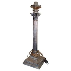 Sterling Silver Victorian Column Table Lamp Oil Converted To Electric 1895 Sheffield England