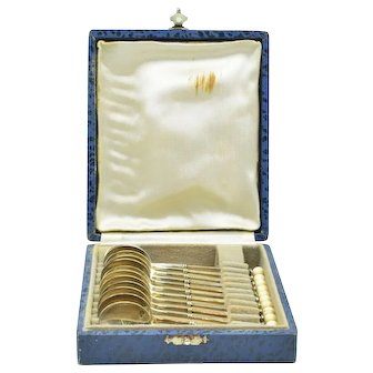 "12 Piece French Savary Antique 950 Silver 4"" Demitasse Spoon Set In Original Box"