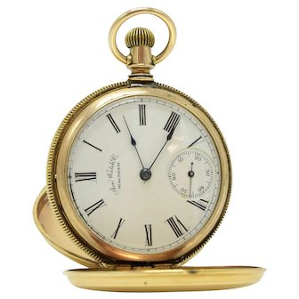 Antique 14k Gold Engraved Double Hunter 7j American Watch Co. Waltham Pocket Watch Size 6s Seaside Grade