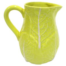 Yellow Majolica Cabbage Pitcher Made in Portugal