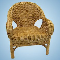 Wicker Doll Chair Woven Rattan Plant Stand