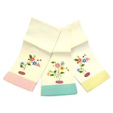 Hand Embroidered Floral Linen Guest Towels Pastel Pink Aqua Yellow