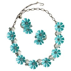 Signed Lisner Demi Parure Blue Flower Rhinestone Collar Necklace and Earring Set
