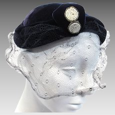 Vintage Blue Velvet Beaded Calot Small Ladies Hat