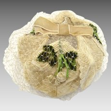 Velvet Ivory Leaf Church Hat in Cream & Green with Birdcage Veil Netting
