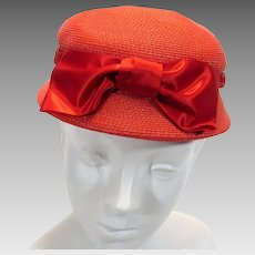 Woven Straw Ladies Hat with Ribbon Hatband Big Bow Soft Red