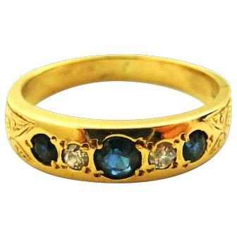 Vintage English 18k gold sapphire and diamond gypsy band ring