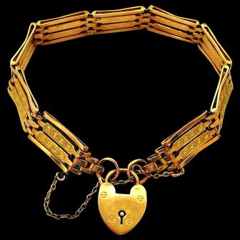 Wonderful antique Edwardian rose and yellow 9k gold gate bracelet